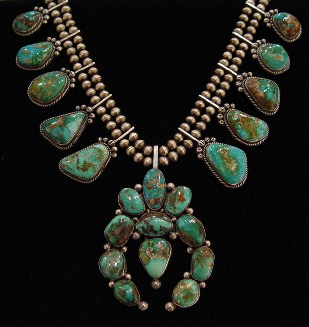 Squash Blossom Necklace of all-natural, hand-cut turquoise & sterling silver by The Lister Family