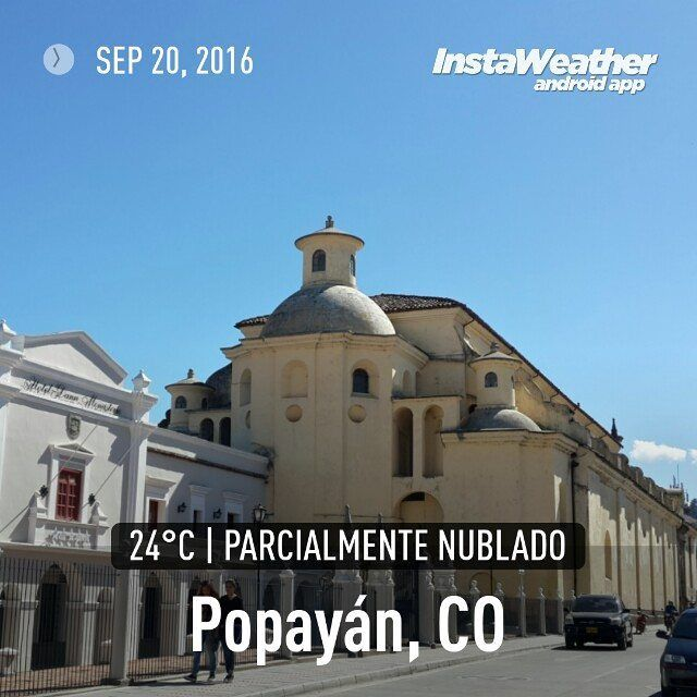 #Clima #PopayánCO min: 18ºC max: 29ºC Mañana: Nublado Tarde: Cielo Parcialmente Nublado Noche: Cielo Parcialmente Nublado