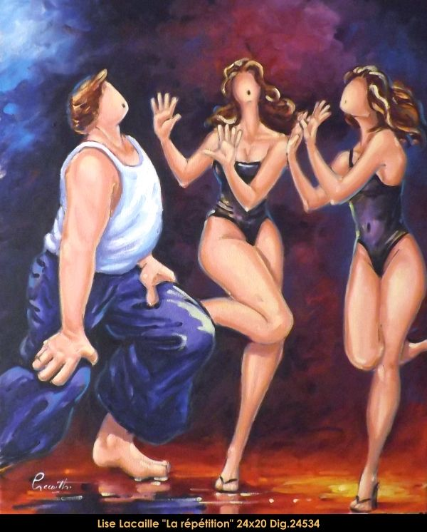 Lise Lacaille original oil painting on canvas #liselacaille #art #artist #canadianartist #quebecartist #fineart #figurativeart #originalpainting #oilpainting #CanadianArt #people #dancing #multiartltee #balcondart