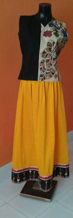 skirt and top with kalamkari