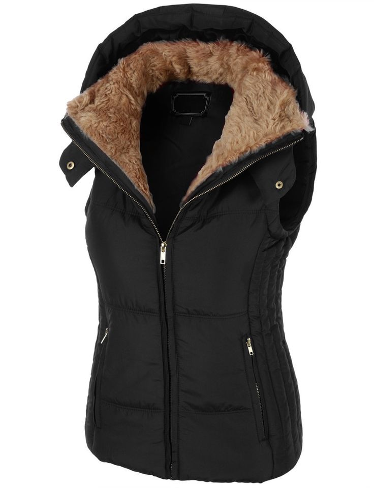 Womens Fully Lined Padded Puffer Jacket Vest With Hoodie