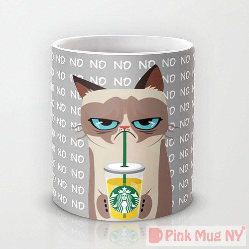Personalized mug cup designed PinkMugNY - I love Starbucks - Grumpy Cat (This isn't a nope, but his face says nope, so it sort of applies. Besides it's too cute and I had to share!)