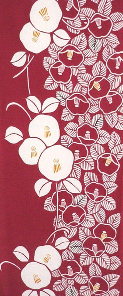 Japanese Tenugui Towel Fabric, Hand Dyed Fabric, Camellia Flower, Botanical…