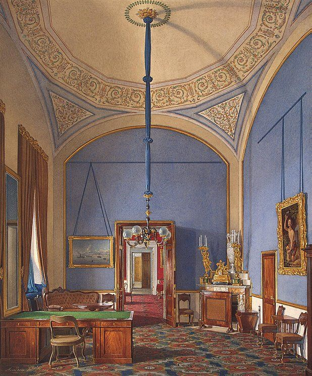 Interiors of the Winter Palace. The Second Reserved Apartment. The Small Study - Edward Petrovich Hau - Drawings, Prints and Painting from Hermitage Museum