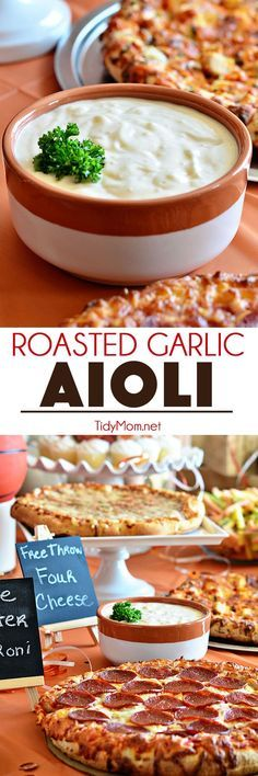 Serve ROASTED GARLIC AIOLI along side, pizza, french fries, veggies and so much more! Aioli recipe and basketball pizza party details at http://TidyMom.net /digiorno/