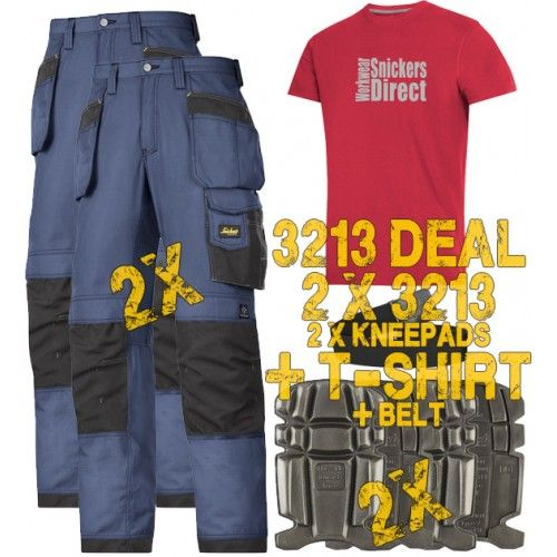 Snickers 2 x 3213 Kit Inc Snickers Direct TShirt, New Rip-Stop Snickers Trouser