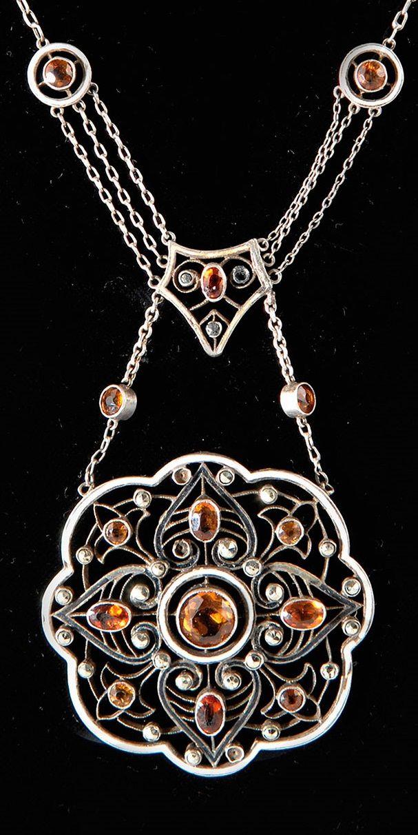 A vintage silver, enamel, citrine and marcasite necklace, Pforzheim, 1920s. Pendant length 8.5 cm, necklace 40 cm. Clasp marked: DEPOSE 835, maker's mark ZK Co. #vintage #necklace