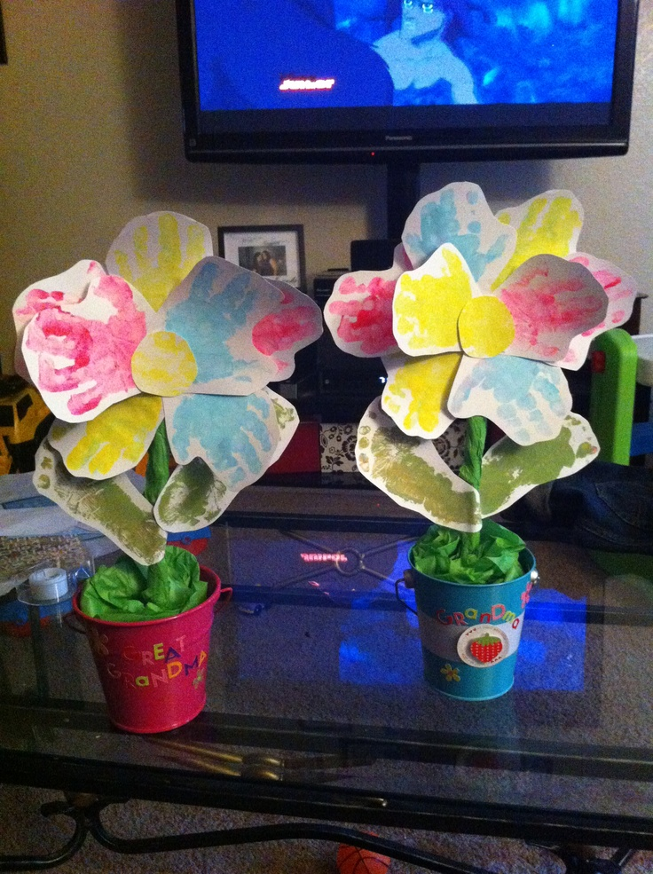 Mother's Day gift from kids handprint flowers