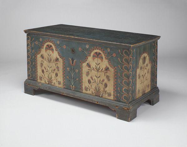 Elegant Blanket Chest, Ca. Lebanon Or Berks County, Pennsylvania, Pine, Painted