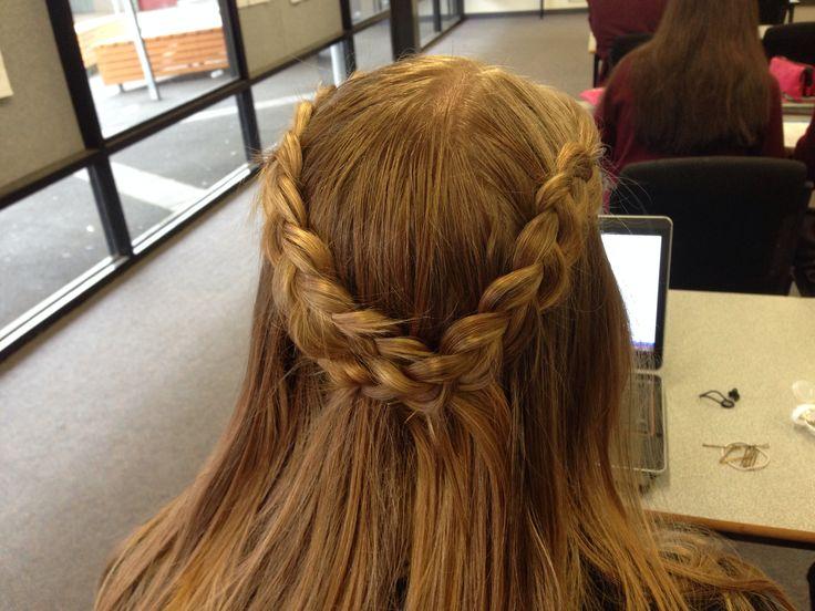 Half up-half down  School hairstyle