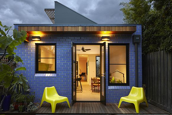 """Euroa-Glazed Bricks in """"Violet' wraps the westerm and eastern facades of our small addition in Northcote"""