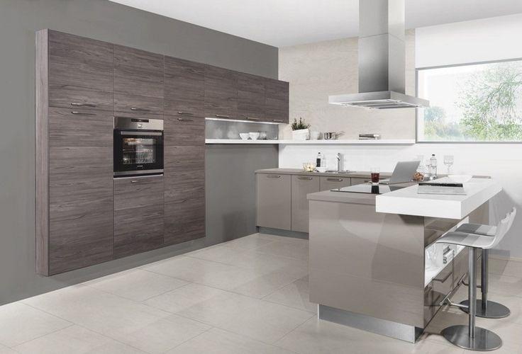 cuisine-gris-laqué-bois-grisâtre-bar-blanc-tabourets-métalliques.jpg (800×544)