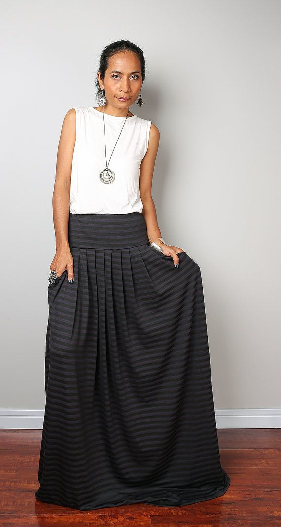 Maxi Skirt  Striped Skirt  Long Black and Grey Striped by Nuichan