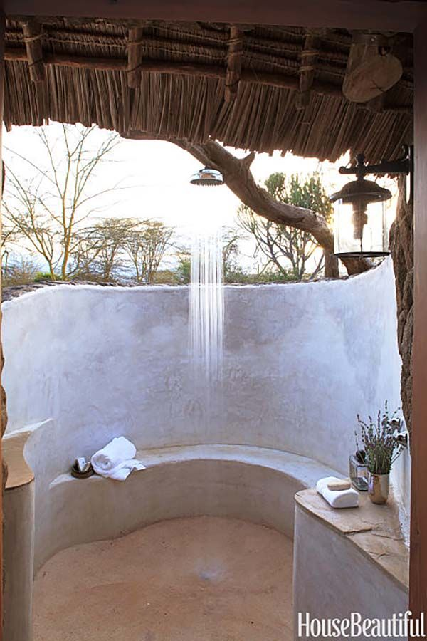Elegant outdoor shower white wood canopy bathroom natural rustic design style ideas inspiration