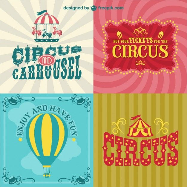 Circus posters set Free Vector