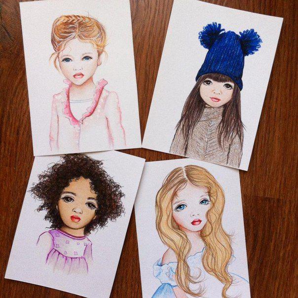 Коллекция бэйбочек. Начало. Трогательные портреты маленьких девочек. Акварельная бумага 15*21. Карандаши #prismacolor стойкие к выцветанию, влагостойкие #арт #открытка #портрет #дети #девочка #бэйба #бэйбаколлекция #art #portrait #baby #girl #collection #cards #ручнаяработа #handmade