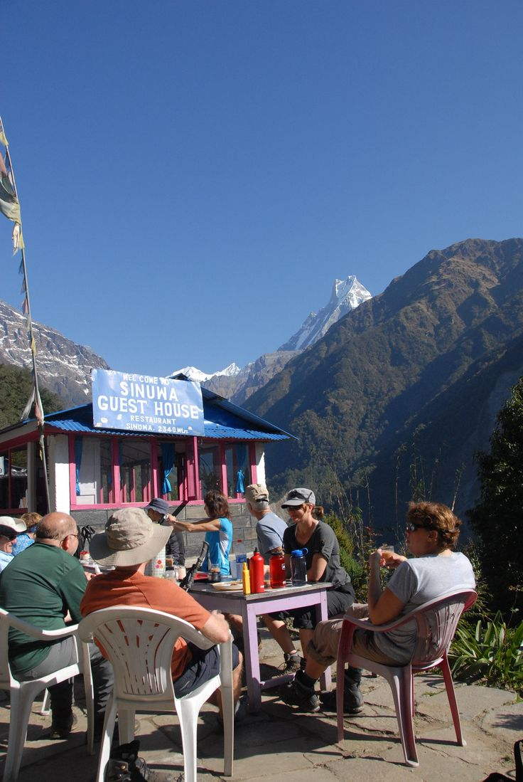 Taking a break at Sinuwa Teahouse.   #nepal #himalayas #hikingnepal