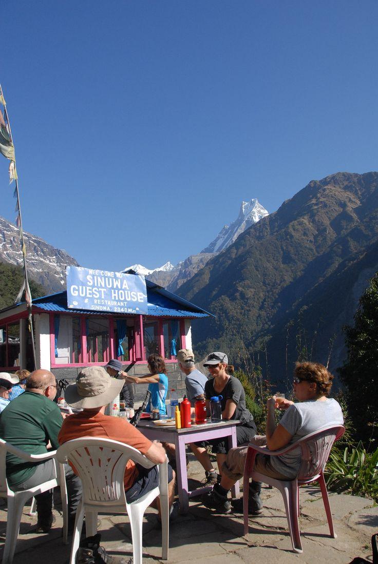 Taking a break at Sinuwa Teahouse.   #nepal #himalayas #hikingnepal