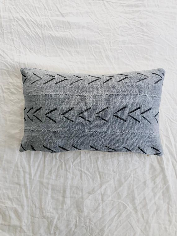Grey Black Arrow Mud Cloth Front African Mudcloth 100 Cotton Back Natural Cotton Canvas Brass Zipper Enclosure Pillow African Mud Cloth Mud Cloth Pillows