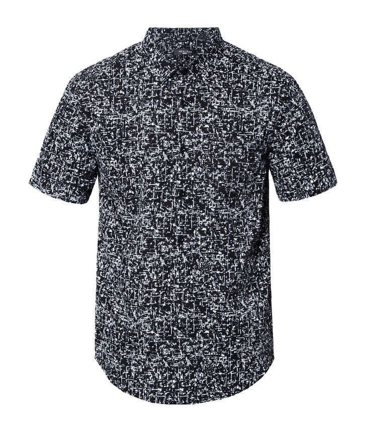 Short Sleeve Splatter Print Shirt by New Look. Short sleeve shirt with white splatter print all over the shirt, button fastening, pair this splatter print shirt with black chinos or khaki chino and loafers for casual style. http://www.zocko.com/z/JG0jV