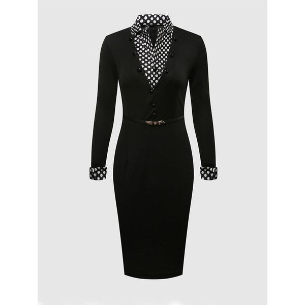Plain Polka Dot Small Lapel Bodycon Dress (150 CNY) ❤ liked on Polyvore featuring dresses, colour block bodycon dress, body con dresses, polka dot bodycon dress, dot dress and colorblocked dress
