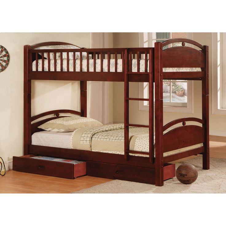 Furniture of America Twin over Twin Bunk Bed with Storage Drawers - IDF-BK600CH