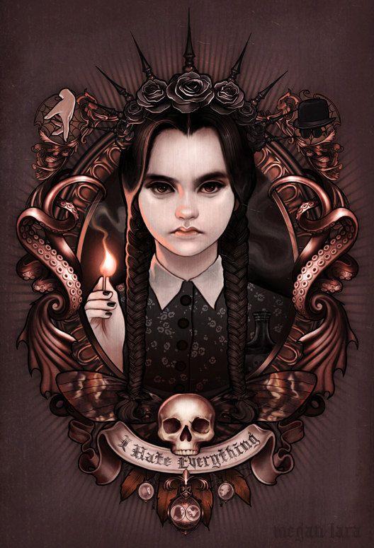 """Odio todo - miércoles Addams de""""la familia Addams"""" firmado de 11 x 17 poster print"""