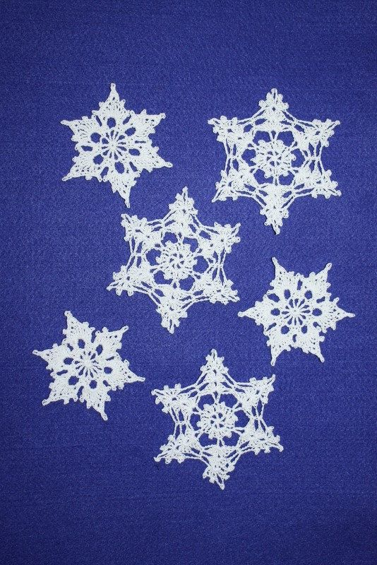 6 Crochet Snowflake Ornaments Large Lace by MaKatarinaCorner #winterornament, #snowflakeornament, #crochetsnowflake, #lacesnowflake, #snowflakedecoration, #christmasornament
