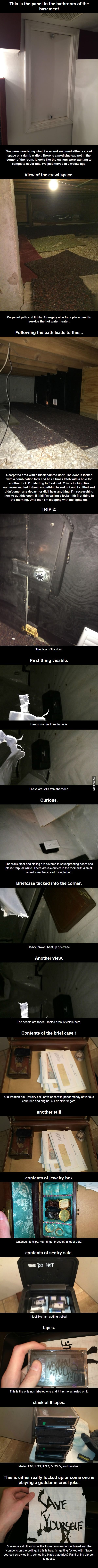 Guy found a creepy room in a hidden crawl space in his new home.