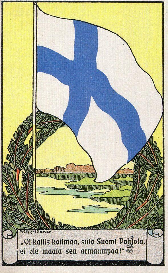 Itsenäisyyspäivänä, 6.12.2016 - Joseph Alasen 1910-luvun lopulla piirtämä Suomen lippu- aiheinen kortti
