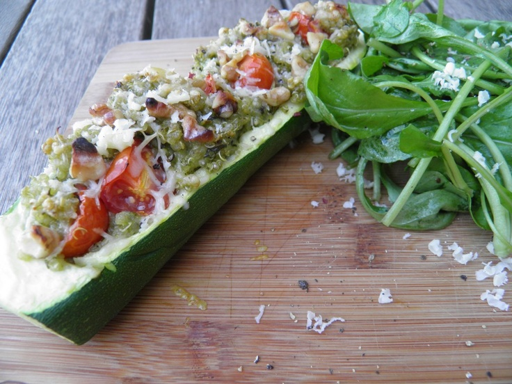 Quinoa pesto stuffed zucchini. | Plant STRONG | Pinterest