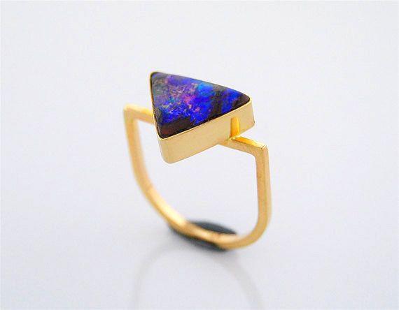Australian Boulder Opal 14K Gold Ring Blue Geometric Triangle on Etsy, $1,200.00