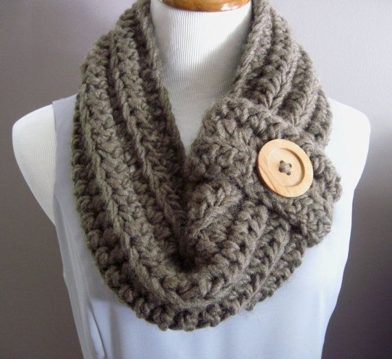 Crochet Scarf Pattern With Button : Chunky Bulky Button Crochet Cowl: Soft Cocoa Brown with ...