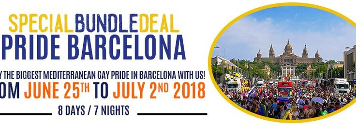 Gay Barcelona Pride Package Deal - 100€ off Gay Barcelona Pride Package until January 31st. Just mention SEASONSOFPRIDE to receive the special discount.