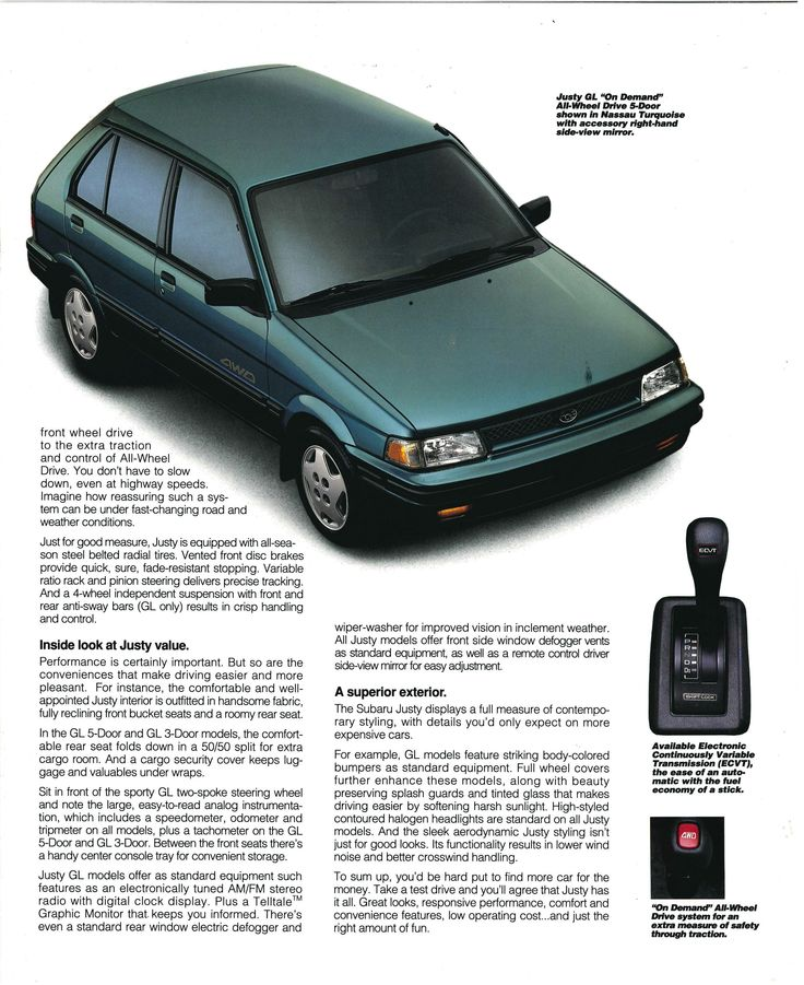 1993 #Subaru #Justy #Brochure with On Demand All Wheel Drive. #vintage #retro #advertising