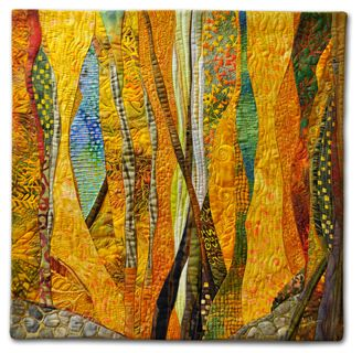 Hilde Morin - FALL - 2011 Curved piecing commercial fabrics, hand dyes, machine quilted