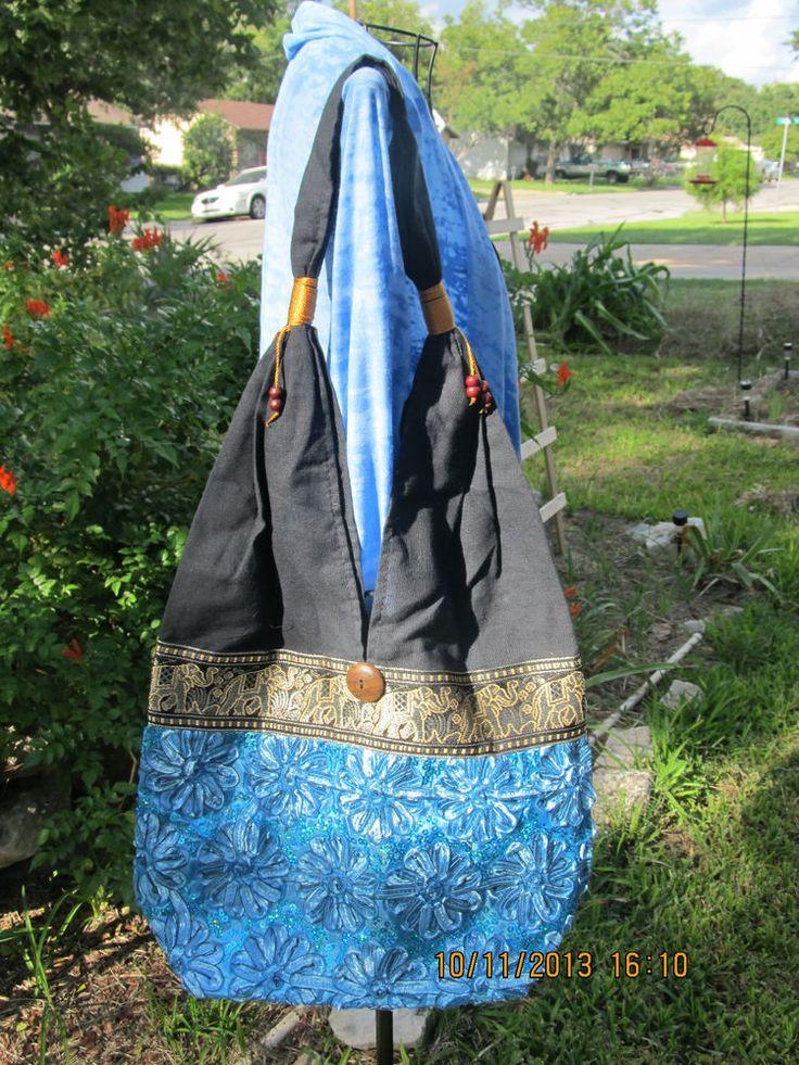 LADY WOMEN BAG VINTAGE THAI ELEPHANT HANDBAG LARGE HIPPIE HOBO TOTE  BLUE L4 #Unbranded #ShoulderBag