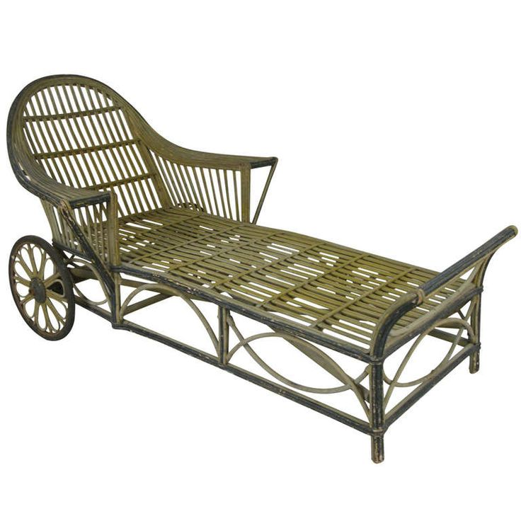 Antique wicker chaise lounge from a unique collection of for Antique wicker chaise lounge