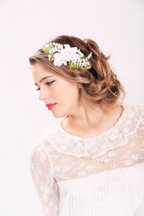 wedding headband, bridal hair, wedding hair accessory, white flower headband on Etsy, $36.00