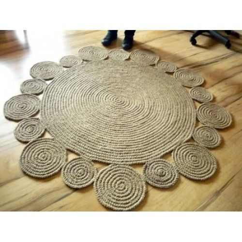 Handmade jute twine rug - 5 ft ( 152 cm ) Playful Round Rug by natural jute