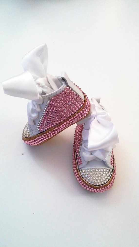 Pink and gold baby shoes glitter soles custom by AllureDesignz