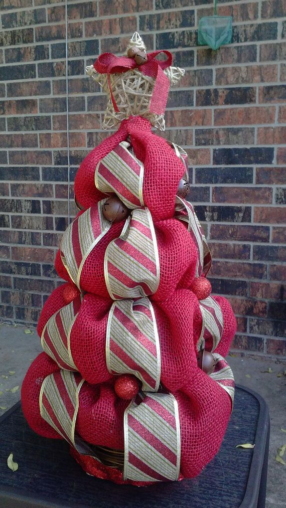 Red burlap christmas tree holiday centerpiece by