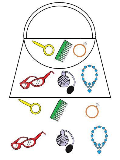 Handtassenspel: De kleuters moeten de spulletjes van mama in hun handtas verzamelen. Dit doen ze door met de figurendobbelsteen te gooien. De bedoeling is om als eerste hun handtas vol te hebben.