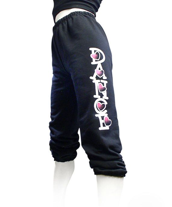 """CLOSE-OUT ***Youth Medium*** Girls Dance Sweatpants - Black.  Titled """"Hearts Dance"""". Great for class, rehearsal, and conventions."""