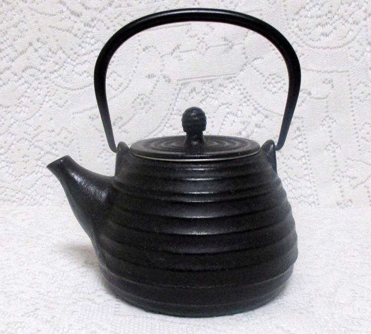 Vintage  Asian Japanese Black Cast Iron Ribbed Teapot Infuser Filter Tea Brewer
