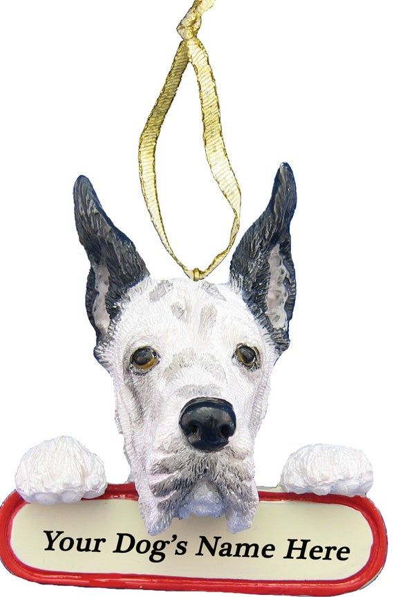 Harlequin Great Dane Ornament With Personalized Name Plate A Great