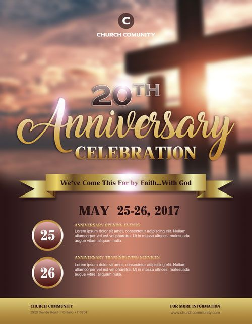 anniversary celebration free church flyer template pastors