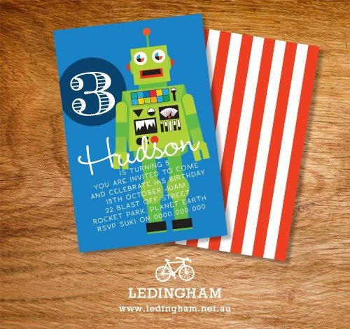 Robot Party Invitations (DIY Printables).