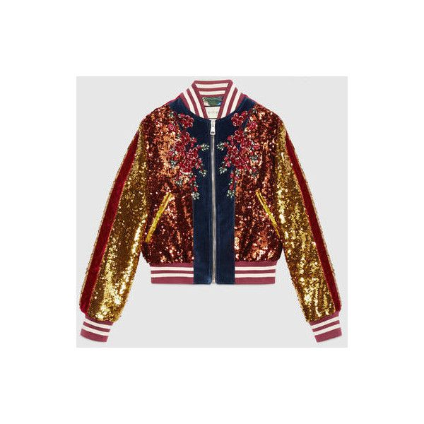 Gucci Embroidered Sequin And Velvet Bomber (28.370 BRL) ❤ liked on Polyvore featuring outerwear, jackets, cat jacket, gucci jacket, floral-print bomber jackets, embroidered jacket and pink jacket