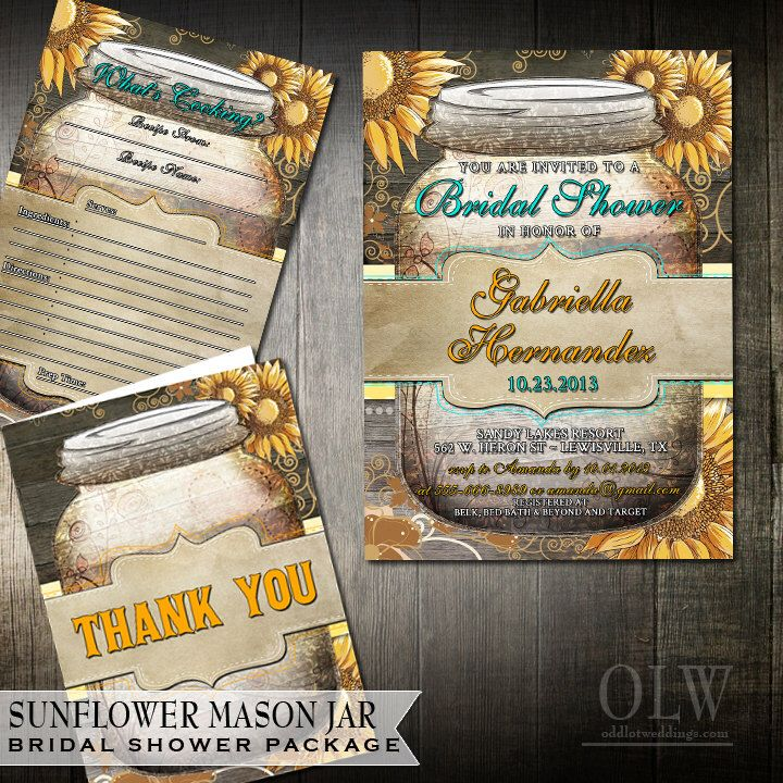 recipe themed bridal shower invitation wording%0A Featuring a rustic bridal shower invite  thank you card and mason jar recipe  card fr your sunflower rustic wedding theme party